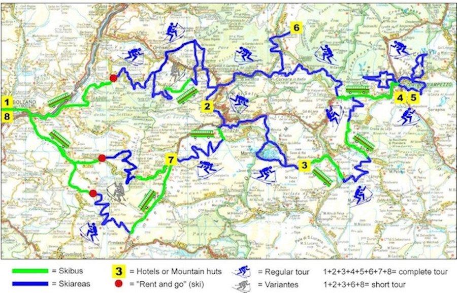 Ski Safari Dolomites map