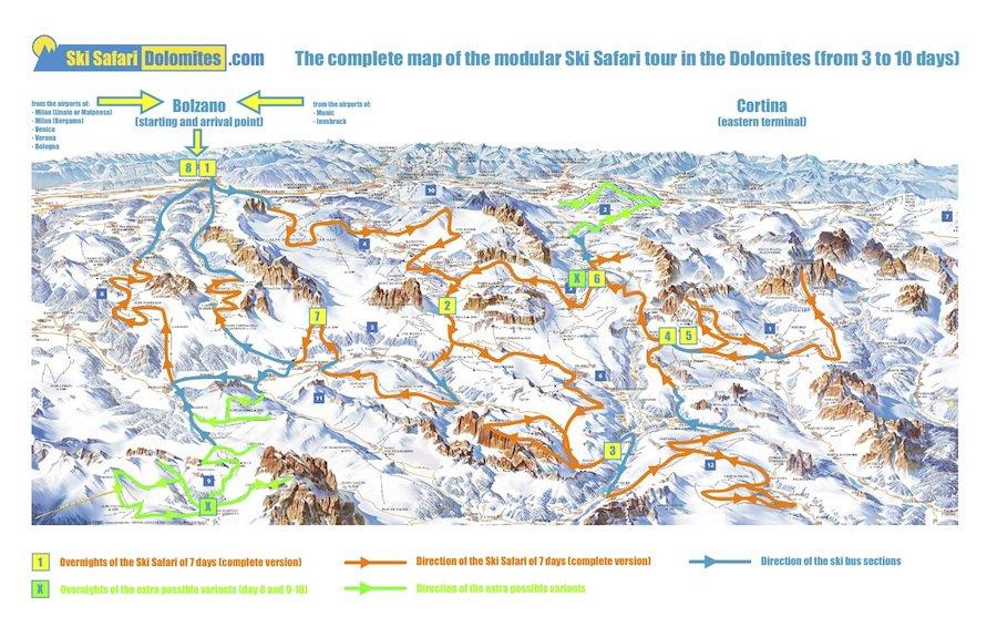 Ski Safari Dolomites panoramic map