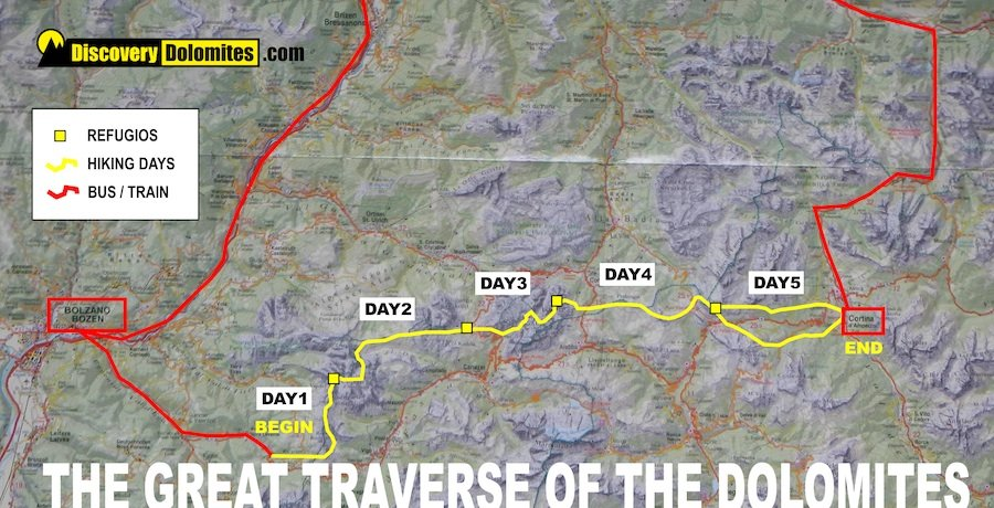 dolomites trekking map