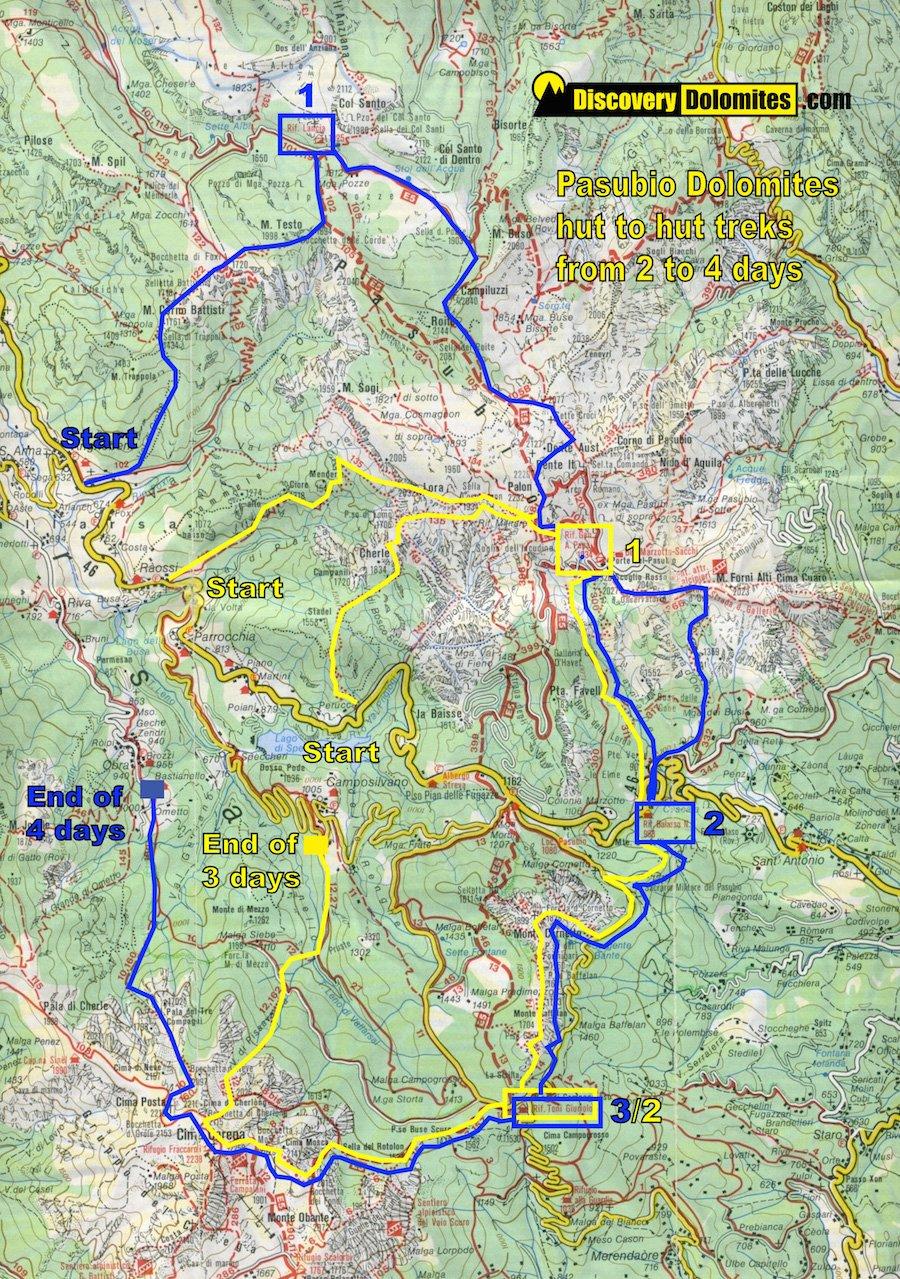 map WW1 pasubio dolomites trekking